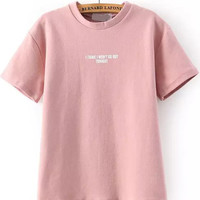 I THINK I WON'T GO OUT TONIGHT  Graphic Print Pink Short Sleeve Shirt