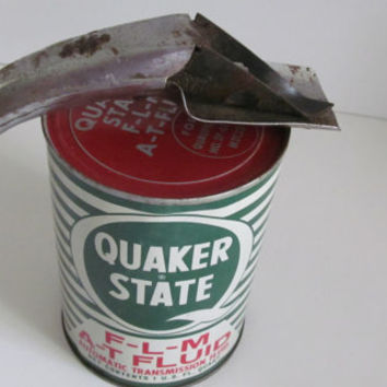 Oil Can Opener with Oil Spout Funnel  Garage Decor  Grandpas Garage Man Cave Decor Rusty Decor