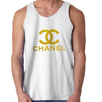 Chanel Gliter Gold For Mens Tank Top Fast Shipping For USA special christmas ***
