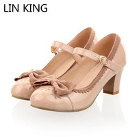 LIN KING New Princess Lolita Bowtie Cute Sweet Japanese Women Shoes Cosplay Maid Anim