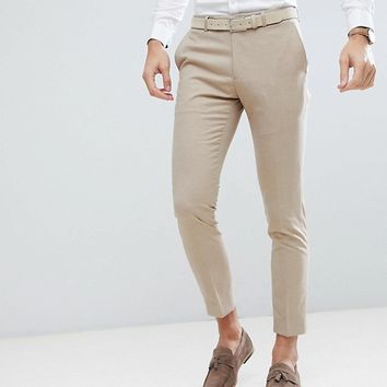 Moss London Skinny Wedding Suit Trousers In Latte at asos.com