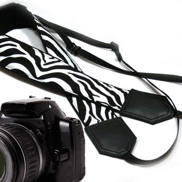 Zebra camera strap. Black and white. DSLR / SLR Camera Strap. Camera accessories.  For Sony, canon, nikon, panasonic, fuji and other cameras.