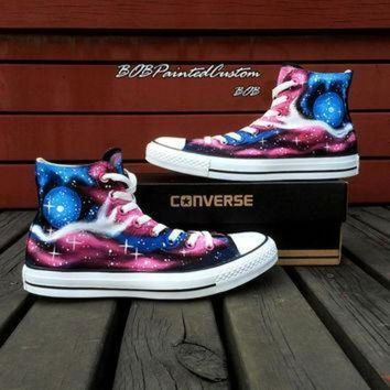 DCCK1IN customizable galaxy converse shoes for women men hand painted fashion canvas shoes the