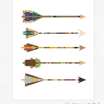Natural Arrows Print- Collaged Poster Print - Art Illustration Giclee Print