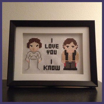 Leia and Han Cross Stitch Picture Framed