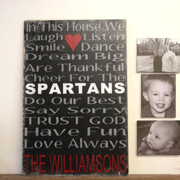 Large Family Rules Sign Spartans Personalized Wood Sign Fathers Day Gift Mancave Distressed Wood Sign Custom Wood Sign Housewarming Gift