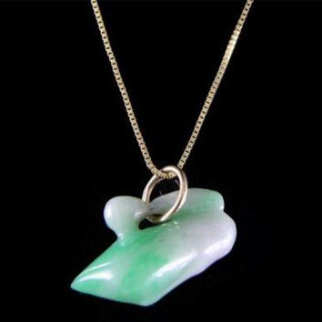 GENUINE NATURAL NOT ENHANCED CARVED JADE JADEITE PENDANT 14K YELLOW GOLD