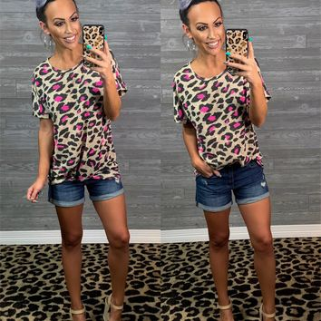 All or Nothing Hot Pink Leopard Top