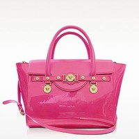 Versace Large Signature Patent Leather Tote | FORZIERI