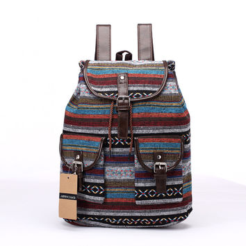 New Brand Women Backpack Vintage Cotton Fabric Backpacks Large Capacity Shoulder Bag Bohemian Chic Rucksack Elephant School Bag