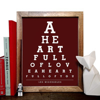Les Miserables, A Heart Full Of Love A Heart Full Of You, Eye Chart, 8 x 10 Giclee Art Print, Buy 3 Get 1 Free