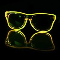 EL Wire Clear Yellow Light Up Sunglasses : LED Wire Glasses and Shades from RaveReady