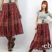 Vintage 90s Ethnic Print Midi Skirt L XL Festival Skirt Hippie Skirt Hippy Skirt Boho Skirt Indian Skirt India Skirt L Skirt XL Skirt