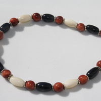 Summer Dark Blue, Reddish Brown, and Ivory White Tagua Nut Anklet with Silver Color