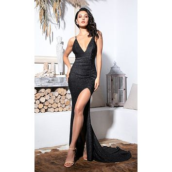 Hollywood Glam V Neck Elastic Black Glitter Bodycon Spaghetti Strap Slit Leg Sleeveless Maxi Dress