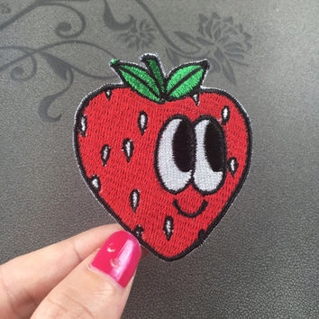 funny strawberry embroidered patch Full embroidery iron on patch sew on patch
