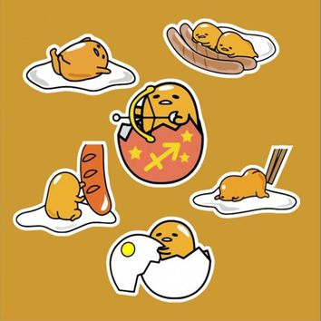12 Pcs/set funny Novelty Gudetama Lazy Egg Cartoon Funny Sticker For Car Laptop Bicycle Luggage Waterproof Decal Stickers