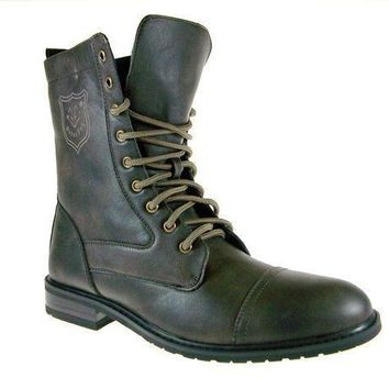 MDIGON1O Mens Polar Fox Calf High Military Lace Up Combat Boots 801026 Brown-567 Day First
