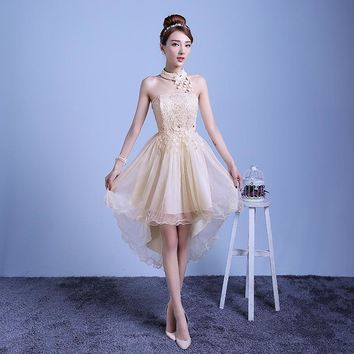 ZX-D48XB#2016 new summer short long before after shortparagraph a bride bridesmaid dresses wedding dress female toast champagne