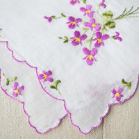 1950s Handkerchief Embroidered Violets Bridal Hankie