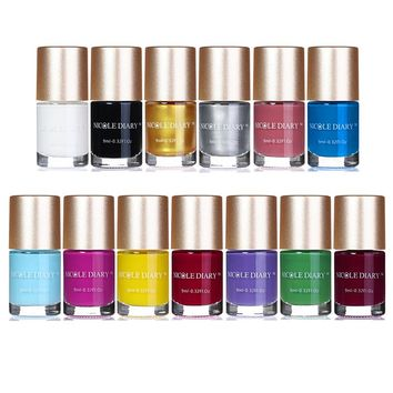 NICOLE DIARY 9ml Nail Stamping Polish Multi Color Candy Nail Polish Black White Gold Silver Lacquer Manicure Nail Art Varnish