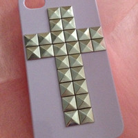 Pyramid Studded Cross Hard iPhone 4 4S Case Various Colours