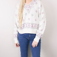Vintage White Tribal Aztec Knit Sweater