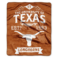 Texas Longhorns NCAA Royal Plush Raschel Blanket (Label Series) (50x60)