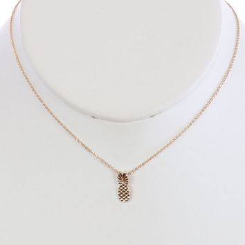 Gold Metal Pineapple Charm Necklace