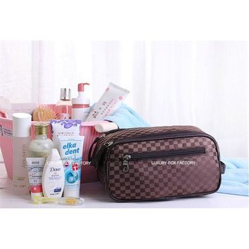 Luxury Designer Men 3 Zip Large Cosmetic Bag Travel Organizer Toiletry Pouch Bag