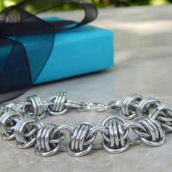 Silver Bracelet // Chain Maille Jewelry // Chainmaille Bracelet // Renaissance Jewelry // Medieval Chainmail