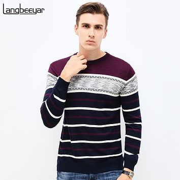 Autumn Clothing Sweater Men Casual Slim Fit Winter Pullover Men Striped Knitted Sweater Men