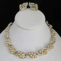 Vintage Coro Faux Pearl Gold Tone Necklace Earrings Set