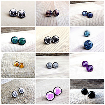 Pick any 3 stud earrings and only pay for 2, Stud earrings, SALE, Stud earrings, Resin earrings, Spring SALE, Glitter earrings, Cat earrings