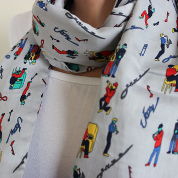 All That Jazz Scarf, Jazz it Up Scarf, Jazz Loop Scarf with Musicians, Jazz Lover, Music Notes,Jazz Print Scarf, Colorful Gift, Music Lovers