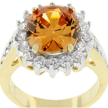 Kate Champagne Cambridge Cocktail Gold Ring | 7ct | Cubic Zirconia | 18k Gold