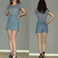 XS S Vtg 70s CALIFORNIA CONCEPTS Blue Denim Stripe Onesuit Romper Shorts Playsuit Jumpsuit