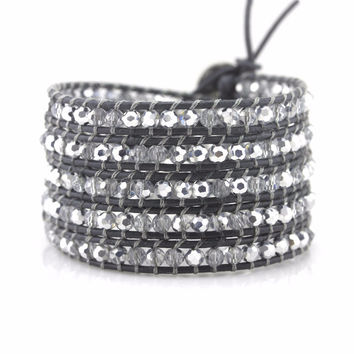 Clear and Silver Crystals on Dark Gray