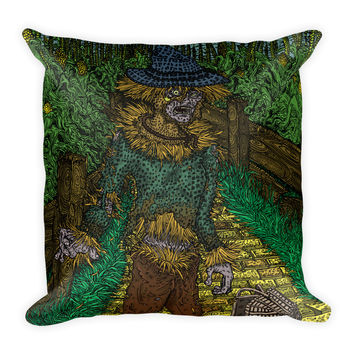 Walkers Of Oz: Zombie Wizard of Oz Cornfield Parody Square Pillow