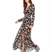 Long Sleeve Maxi Dress in Floral Print