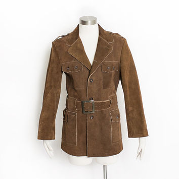 Vintage 1960s Suede Jacket - Mod Brown Suede Leather Heavy 70s - Small S