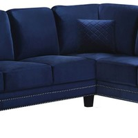 Ferrara Navy Velvet 2Pc. Sectional (LAF & RAF)