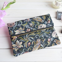 Birds fold over clutch, zipped clutch, foldover clutch, fold over purse, zipper purse, bridesmaids clutch, wedding evening bag, faux leather