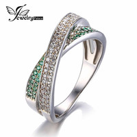 Two Tone Infiniby Wedding Bands Ring For Love Luxury AAA Zirconia Green Sapphire 925 Sterling Silver Vintage Jewelry For Women