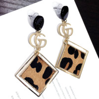 GUCCI Fashion New Leopard Print Square Personality Long Earring Jewelry Women