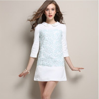 White And Blue Lace Sleeve Peter Pan Collar Shift Dress