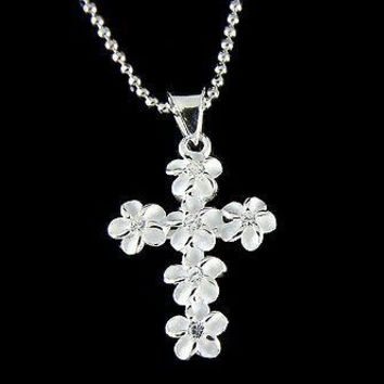 STERLING SILVER 925 HAWAIIAN PLUMERIA FLOWER CROSS CHARM PENDANT CLEAR CZ 15MM