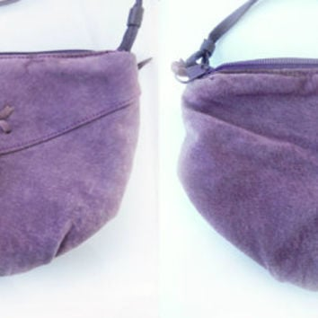 Vintage Purple Suede Purse, Cross body Shoulder Bag Purse, Purple Suede Hobo Bag Pouch