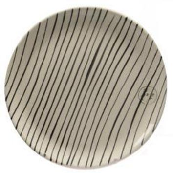Basic Luxury Decorative Black Stripes on White Round Terracotta Dinner Plate 9.25""