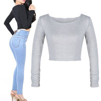 Plain Long-Sleeve Crop Tank Shirt